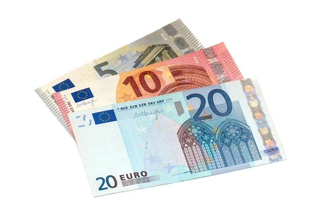 5、10、20ユーロ紙幣の分離 Premium写真