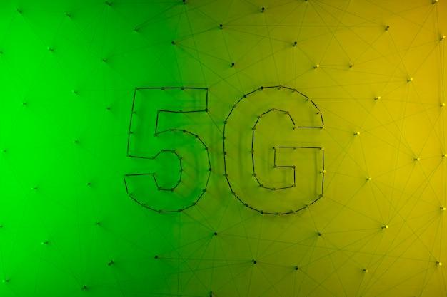 グラデーションで5 gの現代技術の背景 無料写真