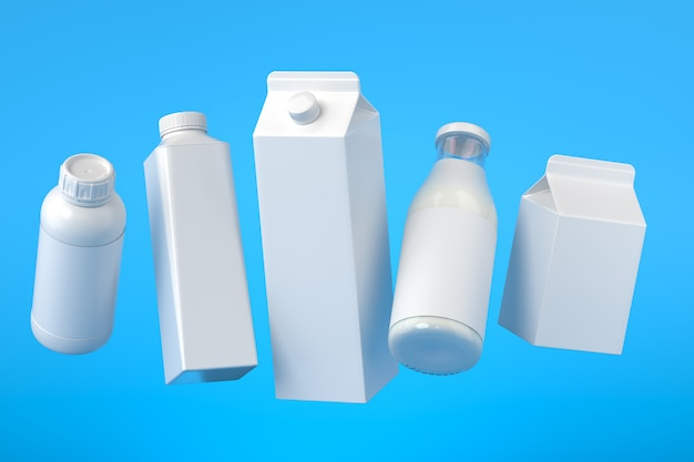 5 types of blank milk packaging hovering on the blue surface. 3d illustration Premium Photo