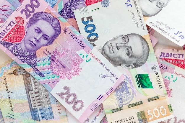 ウクライナのお金、500と200のグリブナ Premium写真