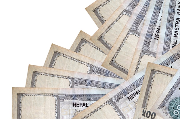 500 nepalese rupees bills lies in different order isolated on white. local banking or money making concept. business wall banner Premium Photo