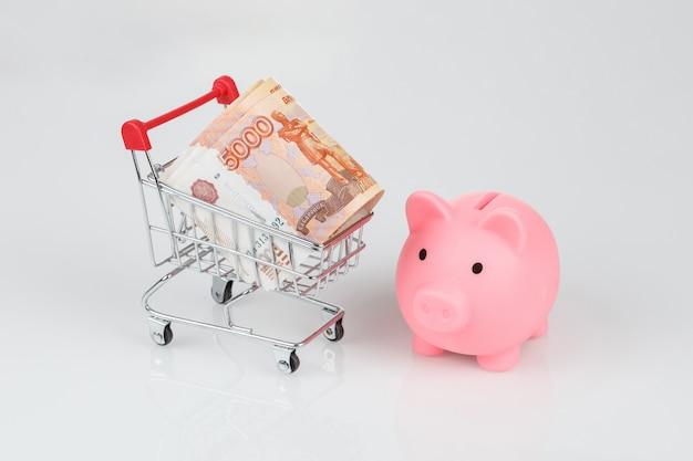 Розовый копилка копилка и 5000 рублевых банкнот, концепция валюты Premium Фотографии