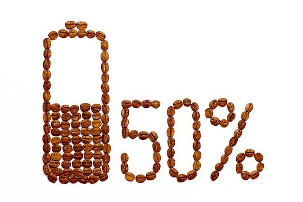 コーヒー豆のバッテリー充電50% Premium写真