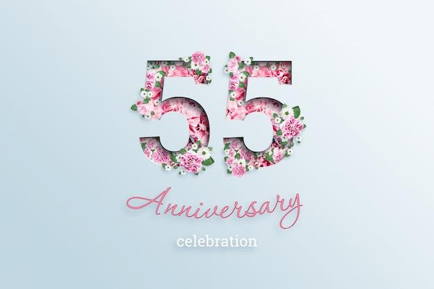 碑文55番号と記念日のお祝いのテキストは、光の上の花です。 Premium写真