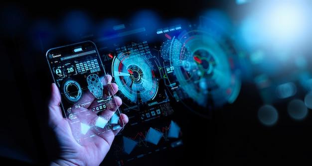 グローバルビジネス、フィンテック、ブロックチェーンの5g lteデータ接続を備えた、手に触れる通信ネットワークとワイヤレスモバイルインターネットテクノロジー。 Premium写真