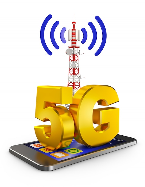 5g on the smartphone and a communications tower. 3d rendering. Premium Photo