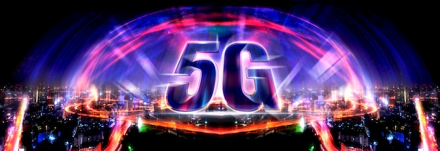 5g technology background and internet of things with modern city skyline Premium Photo