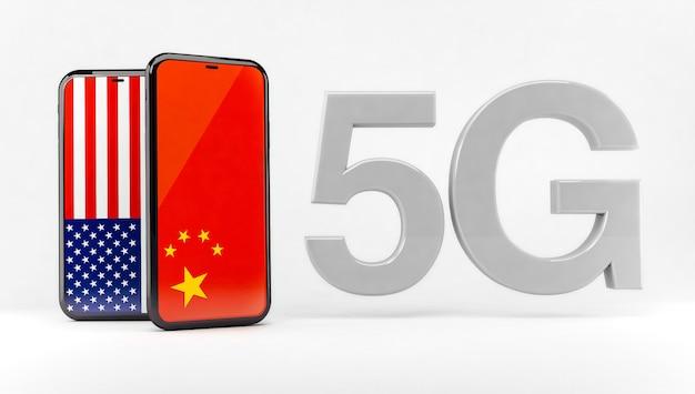 Технология 5g между сша и китаем Premium Фотографии