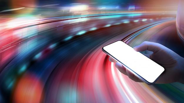 5gスピードネットワークワイヤレスシステムと動きのあるもののインターネットは、背景をぼかし。 Premium写真
