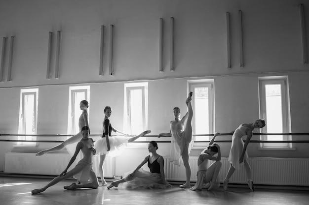 バレエバーの7つのバレリーナ 無料写真