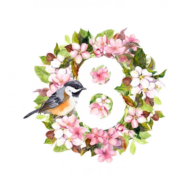 花、番号8の鳥。3月8日、女性の日の花カード。 Premium写真