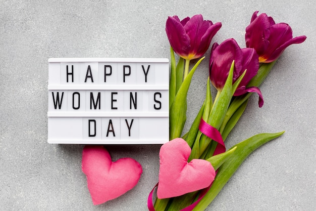 8 march assortment with happy women's day lettering Free Photo