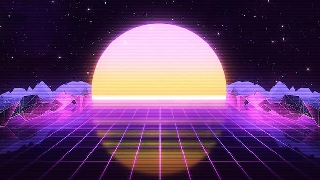 80年代の未来的なレトロsynthwave Premium写真