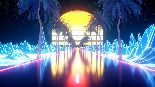 Футуристическая фантастика 80-х. ретровейв вид из видеоигры пейзаж, неоновая подсветка. стилизованная винтажная паровая волна Premium Фотографии