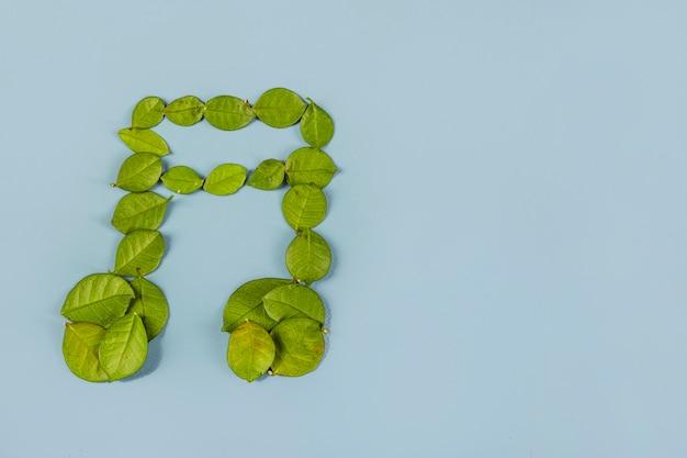 青い背景に緑の葉で作られたミュージカルダブル8つのノート 無料写真