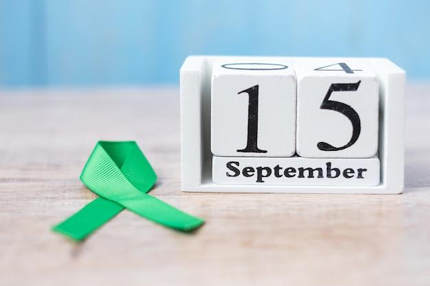 白いカレンダーの9月15日、世界リンパ腫啓発デー Premium写真