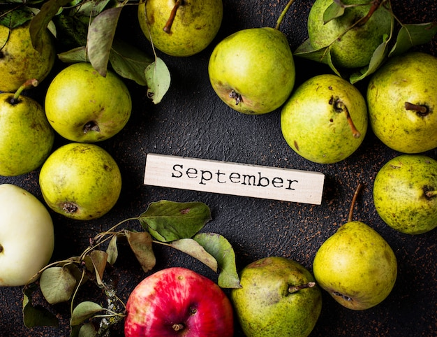 梨と秋の9月の背景 Premium写真
