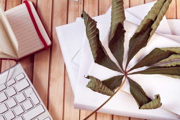 カエデの葉、キーボード、赤いノートとホワイトブック Premium写真