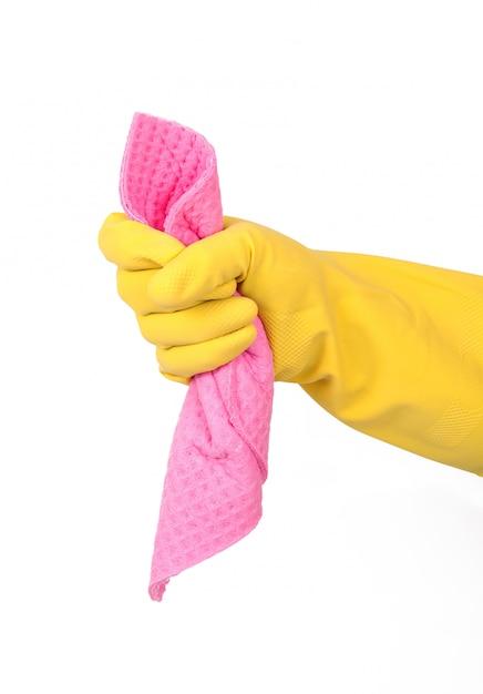 手袋と白のスポンジで手 Premium写真
