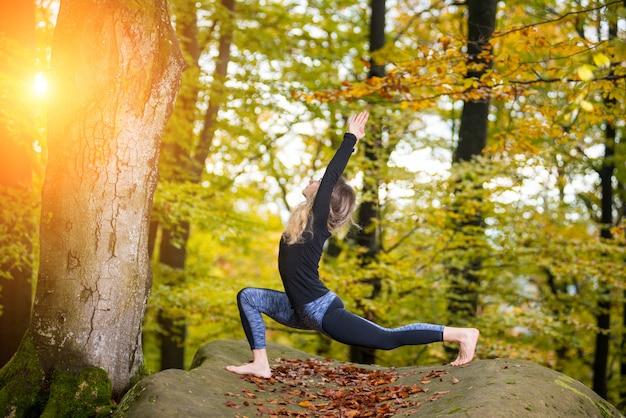 女性はヨガを練習し、大きな石の上の秋の森でアーサナをやっています。 Premium写真
