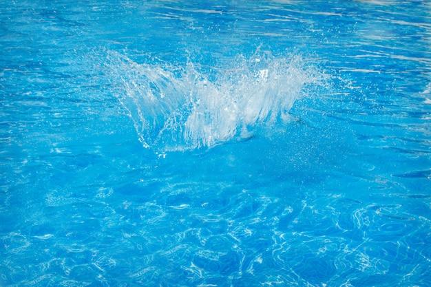 プールのクローズアップで青い水のしぶき。コピースペース Premium写真