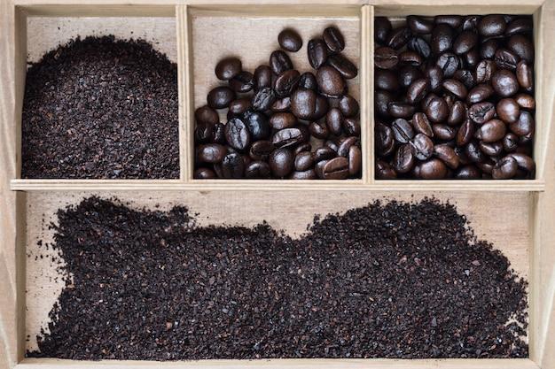 ベトナムのロブスタコーヒー、木製の箱 Premium写真