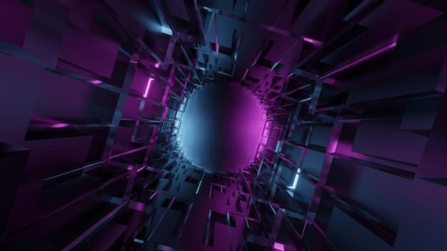 パープルブルーのグラデーションで未来的な抽象的な地下の幾何学的なトンネル Premium写真