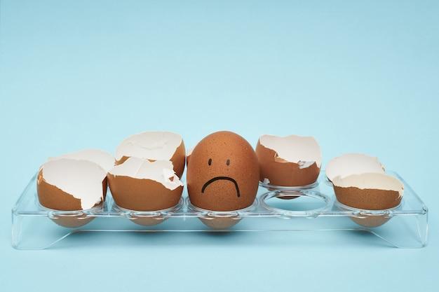 卵ホルダーに鶏の卵。卵のフルトレイ。卵に描かれた感情と表情。 Premium写真