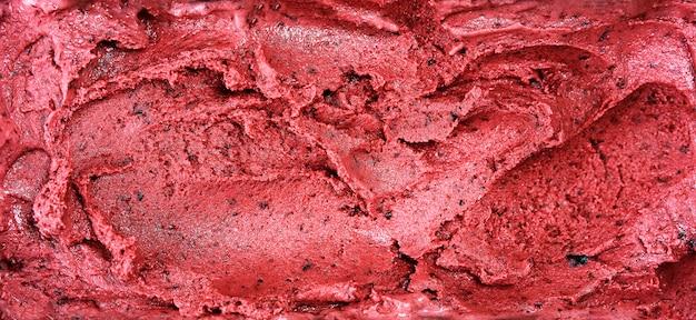果実から作られた赤いシャーベット表面の平面図 Premium写真