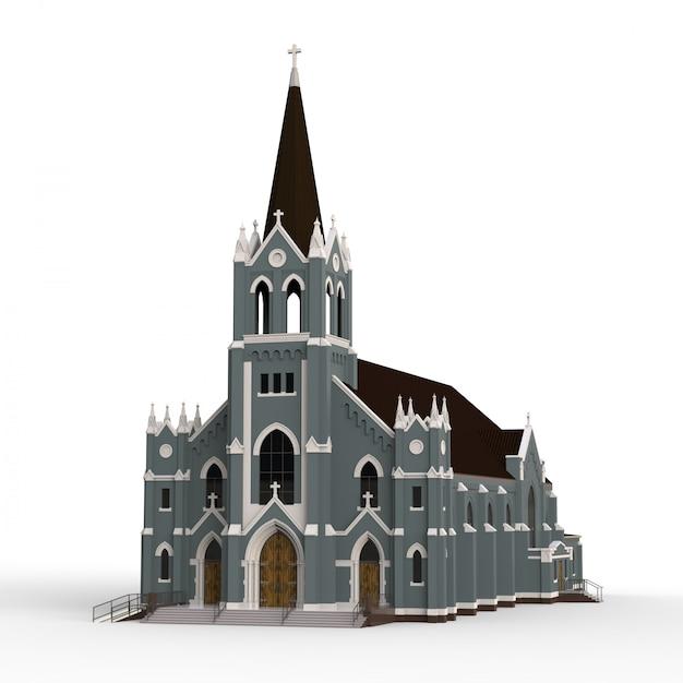 カトリック教会の建物、さまざまな側面からの眺め。白い背景の上の立体イラストレーション Premium写真