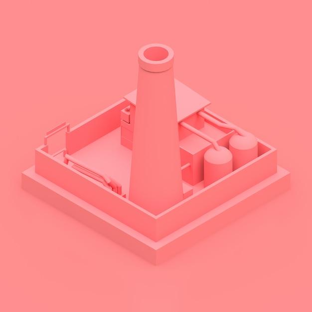 最小限のスタイルで等尺性漫画工場。ピンクの背景にピンクの建物 Premium写真