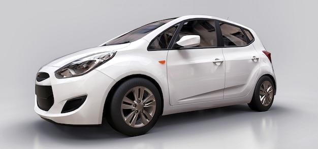 あなたの創造的なデザインのための空白の表面を持つ白い都市車 Premium写真