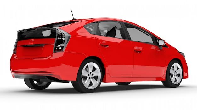 Современный семейный гибридный автомобиль красного цвета на белом фоне с тенью на земле Premium Фотографии