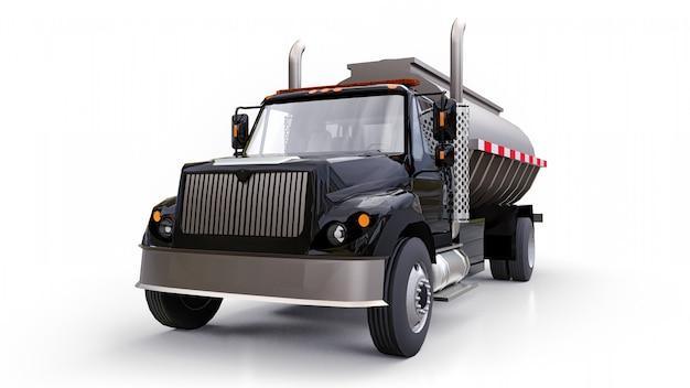 磨かれた金属製のトレーラーを備えた大型の黒いトラックタンカー。あらゆる側面からの眺め Premium写真