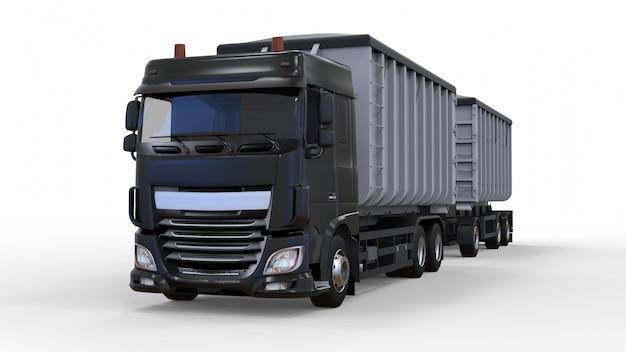 農業用および建築用バルク材料および製品の輸送用の、個別のトレーラーを備えた大型の黒いトラック Premium写真