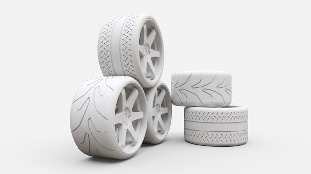 多くのスポーツカーの車輪が一緒に立っています。最小限のスタイルのインストール Premium写真