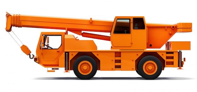 オレンジの移動式クレーン。立体イラストレーション Premium写真