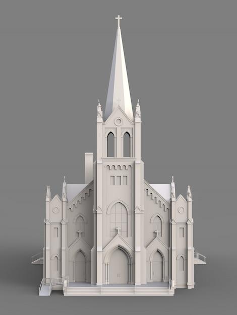 Здание католической церкви, виды с разных сторон. трехмерная белая иллюстрация на серой поверхности Premium Фотографии