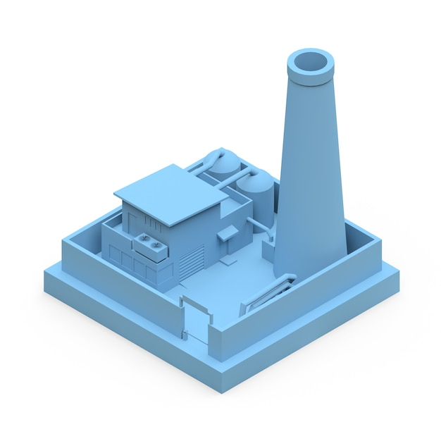 最小限のスタイルで等尺性漫画工場。白い表面に青い建物 Premium写真