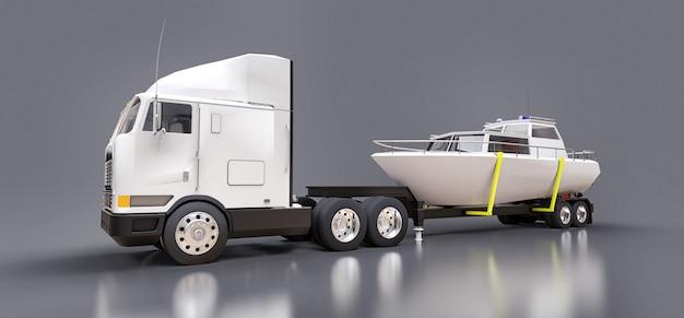 灰色の表面でボートを輸送するためのトレーラー付きの大きな白いトラック Premium写真