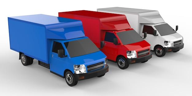 小さな白、赤、青のトラック。車の配達サービス。小売店への商品および製品の配送 Premium写真