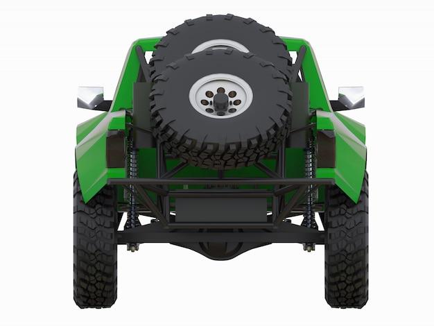 砂漠の地形のために最も準備されたグリーンスポーツレーストラック Premium写真