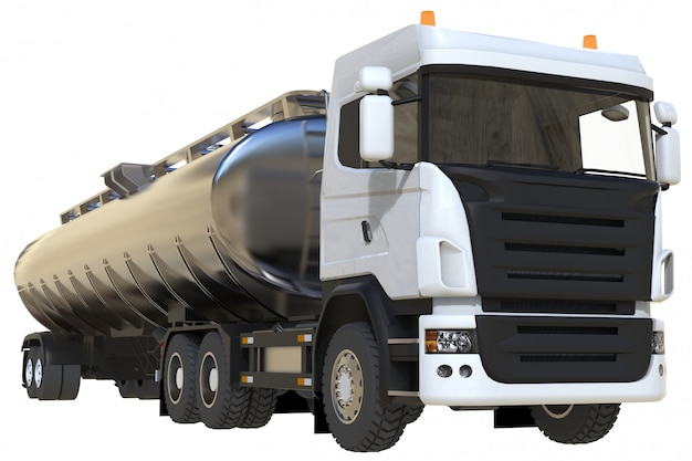 磨かれた金属製のトレーラーを備えた大型の白いトラックタンカー。あらゆる側面からの眺め Premium写真