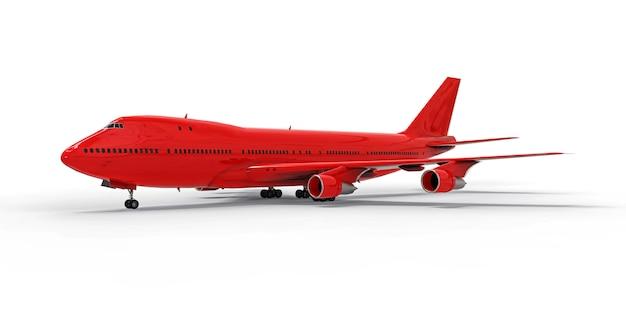 大西洋を横断する大容量の大型旅客機。白い分離面に赤い飛行機 Premium写真