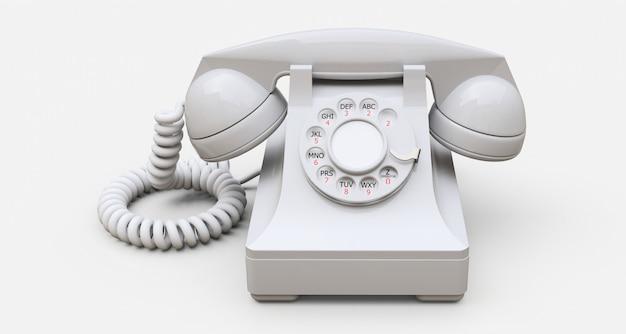 Старый белый телефон Premium Фотографии