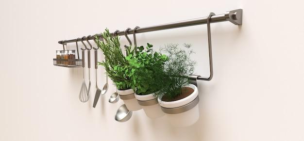 Кухонные принадлежности, сыпучие материалы и живые приправы в горшках висят на стене Premium Фотографии