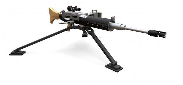 Большой пулемет на штативе с полной кассетой боеприпасов Premium Фотографии