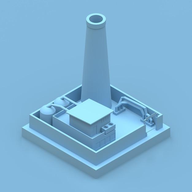 等尺性の青い工場のレンダリング Premium写真