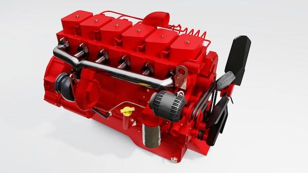 描かれたトラックの大きなディーゼルエンジン Premium写真
