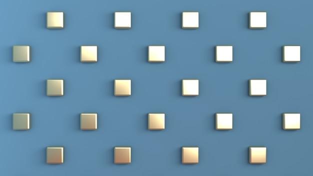 背面の壁に市松模様に配置されたゴールドキューブと青い色 Premium写真